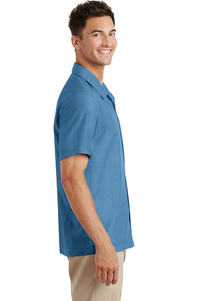 Port Authority S662 Mens Wrinkle Resistant Short Sleeve Button Down Camp Shirt w/ Pocket Celadon Blue Side