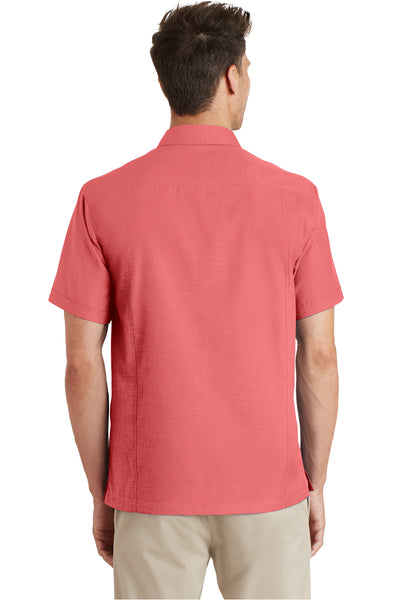 Port Authority S662 Mens Wrinkle Resistant Short Sleeve Button Down Camp Shirt w/ Pocket Coral Pink Back