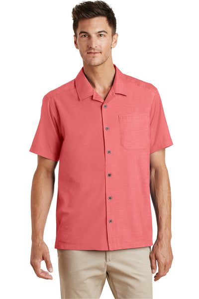 Port Authority S662 Mens Wrinkle Resistant Short Sleeve Button Down Camp Shirt w/ Pocket Coral Pink Front