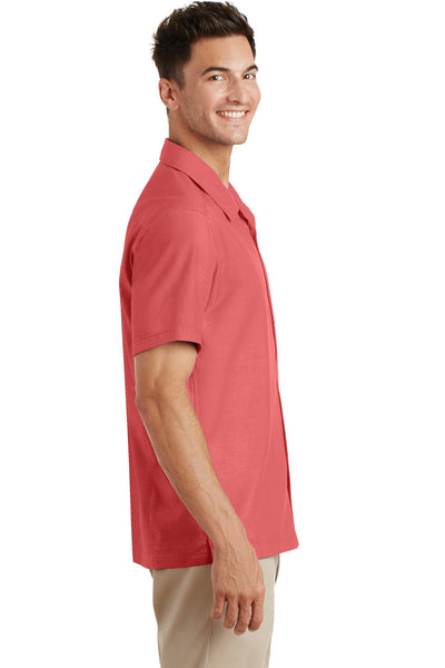 Port Authority S662 Mens Wrinkle Resistant Short Sleeve Button Down Camp Shirt w/ Pocket Coral Pink Side