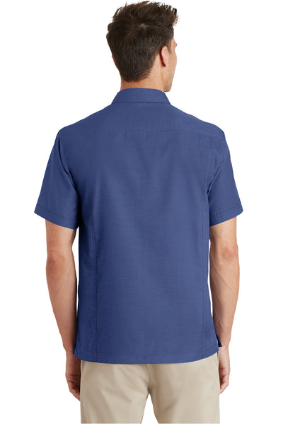 Port Authority S662 Mens Wrinkle Resistant Short Sleeve Button Down Camp Shirt w/ Pocket Royal Blue Back