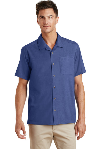 Port Authority S662 Mens Wrinkle Resistant Short Sleeve Button Down Camp Shirt w/ Pocket Royal Blue Front