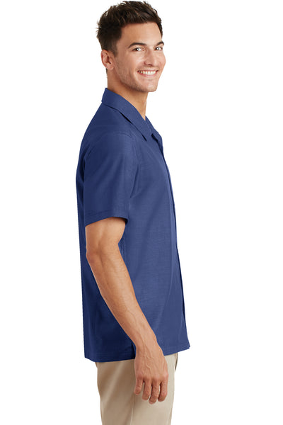 Port Authority S662 Mens Wrinkle Resistant Short Sleeve Button Down Camp Shirt w/ Pocket Royal Blue Side
