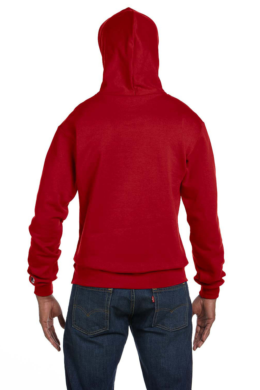 Champion S700 Mens Double Dry Eco Moisture Wicking Fleece Hooded Sweatshirt Hoodie Red Back