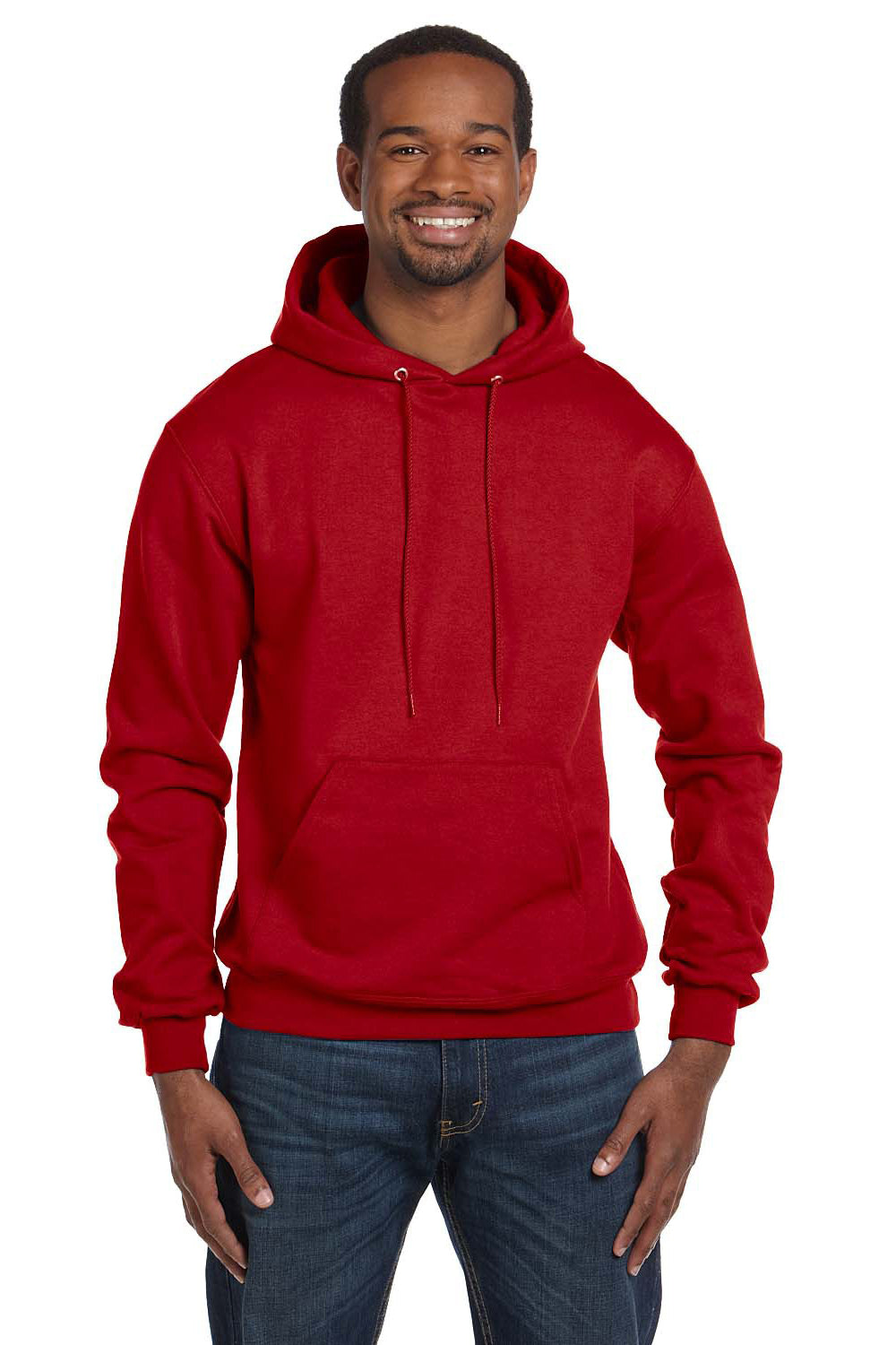 Champion S700 Mens Double Dry Eco Moisture Wicking Fleece Hooded Sweatshirt Hoodie Red Front