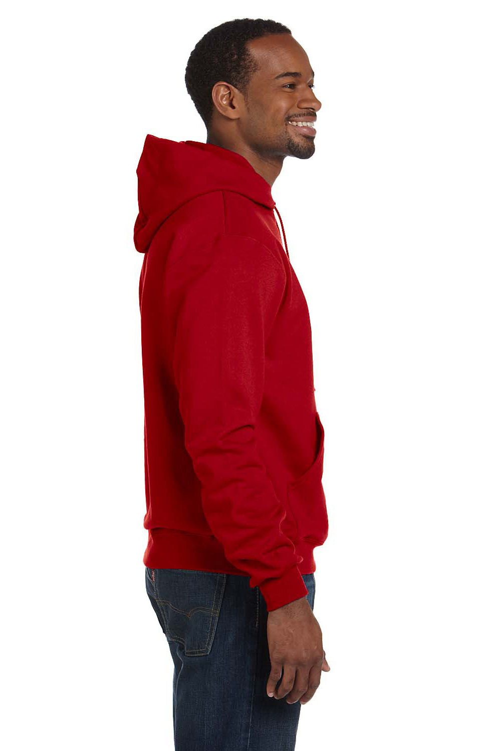 Champion S700 Mens Double Dry Eco Moisture Wicking Fleece Hooded Sweatshirt Hoodie Red Side