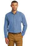 Port & Company SP10 Mens Denim Long Sleeve Button Down Shirt w/ Pocket Faded Blue Front