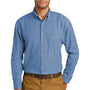 Port & Company Mens Denim Long Sleeve Button Down Shirt w/ Pocket - Faded Blue