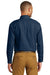 Port & Company SP10 Mens Denim Long Sleeve Button Down Shirt w/ Pocket Ink Blue Back