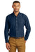 Port & Company SP10 Mens Denim Long Sleeve Button Down Shirt w/ Pocket Ink Blue Front