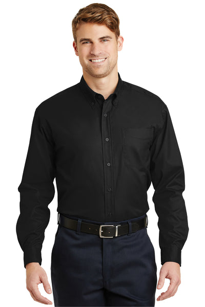 CornerStone SP17 Mens SuperPro Stain Resistant Long Sleeve Button Down Shirt w/ Pocket Black Front