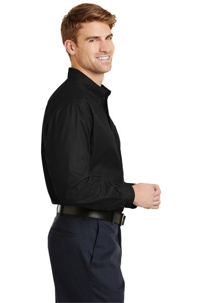 CornerStone SP17 Mens SuperPro Stain Resistant Long Sleeve Button Down Shirt w/ Pocket Black Side