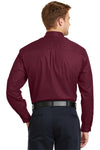 CornerStone SP17 Mens SuperPro Stain Resistant Long Sleeve Button Down Shirt w/ Pocket Burgundy Back