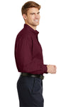 CornerStone SP17 Mens SuperPro Stain Resistant Long Sleeve Button Down Shirt w/ Pocket Burgundy Side