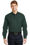 CornerStone SP17 Mens SuperPro Stain Resistant Long Sleeve Button Down Shirt w/ Pocket Dark Green Front