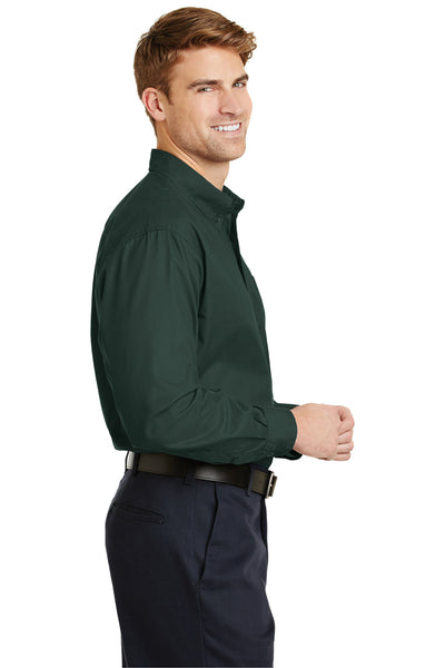CornerStone SP17 Mens SuperPro Stain Resistant Long Sleeve Button Down Shirt w/ Pocket Dark Green Side