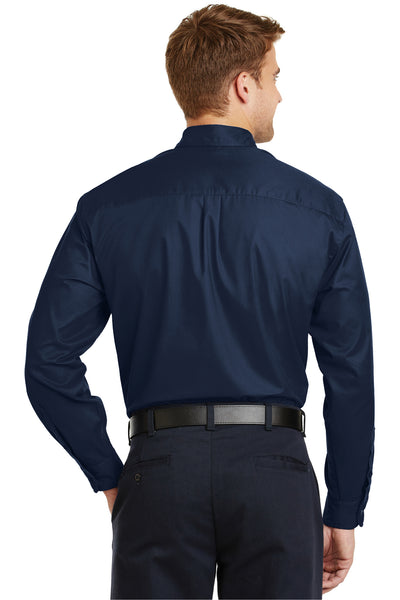 CornerStone SP17 Mens SuperPro Stain Resistant Long Sleeve Button Down Shirt w/ Pocket Navy Blue Back