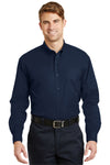 CornerStone SP17 Mens SuperPro Stain Resistant Long Sleeve Button Down Shirt w/ Pocket Navy Blue Front