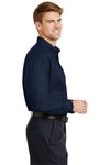CornerStone SP17 Mens SuperPro Stain Resistant Long Sleeve Button Down Shirt w/ Pocket Navy Blue Side