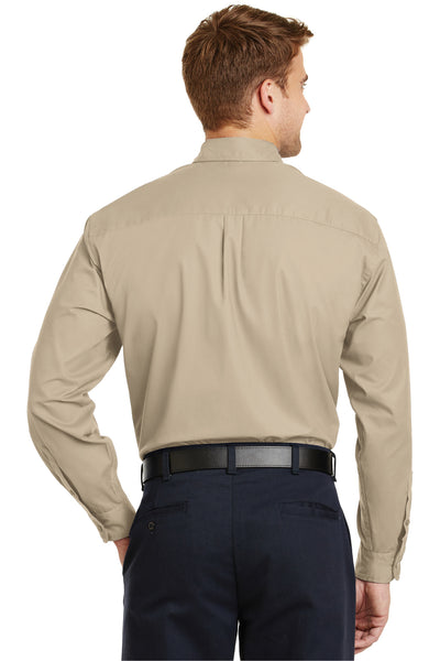 CornerStone SP17 Mens SuperPro Stain Resistant Long Sleeve Button Down Shirt w/ Pocket Stone Brown Back