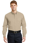 CornerStone SP17 Mens SuperPro Stain Resistant Long Sleeve Button Down Shirt w/ Pocket Stone Brown Front