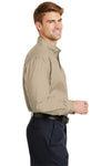 CornerStone SP17 Mens SuperPro Stain Resistant Long Sleeve Button Down Shirt w/ Pocket Stone Brown Side