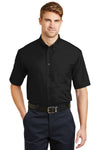 CornerStone SP18 Mens SuperPro Stain Resistant Short Sleeve Button Down Shirt w/ Pocket Black Front