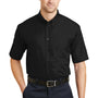 CornerStone Mens SuperPro Stain Resistant Short Sleeve Button Down Shirt w/ Pocket - Black