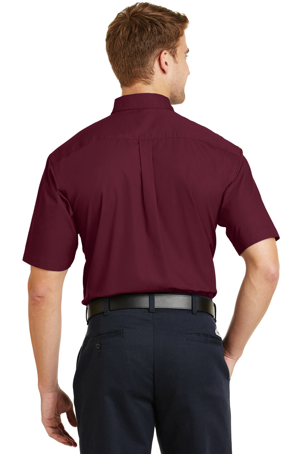 CornerStone SP18 Mens SuperPro Stain Resistant Short Sleeve Button Down Shirt w/ Pocket Burgundy Back