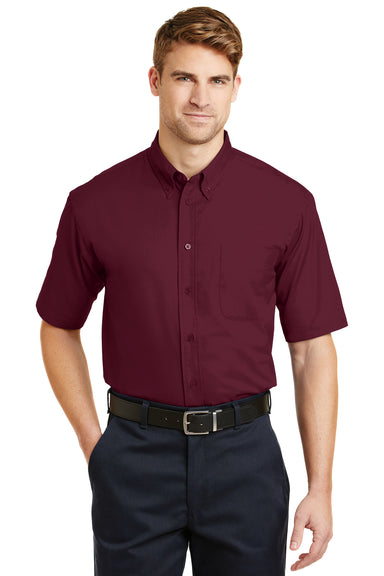 CornerStone SP18 Mens SuperPro Stain Resistant Short Sleeve Button Down Shirt w/ Pocket Burgundy Front