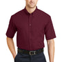 CornerStone Mens SuperPro Stain Resistant Short Sleeve Button Down Shirt w/ Pocket - Burgundy