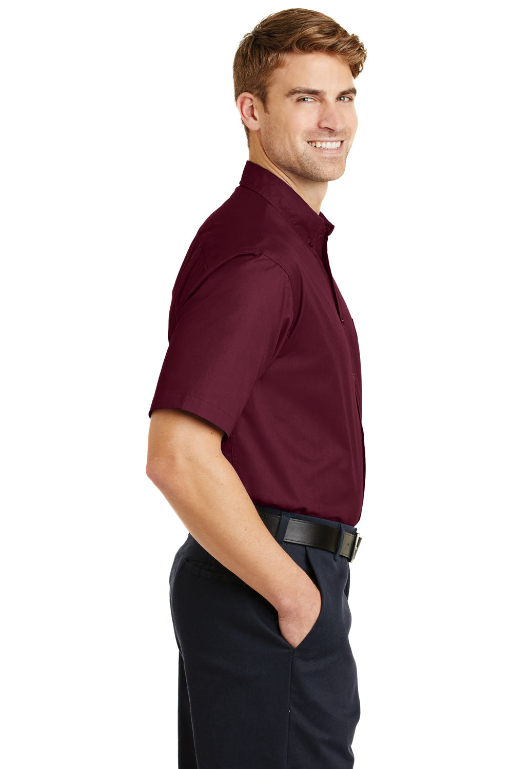 CornerStone SP18 Mens SuperPro Stain Resistant Short Sleeve Button Down Shirt w/ Pocket Burgundy Side