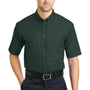 CornerStone Mens SuperPro Stain Resistant Short Sleeve Button Down Shirt w/ Pocket - Dark Green