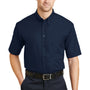 CornerStone Mens SuperPro Stain Resistant Short Sleeve Button Down Shirt w/ Pocket - Navy Blue
