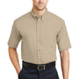 CornerStone Mens SuperPro Stain Resistant Short Sleeve Button Down Shirt w/ Pocket - Stone