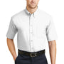 CornerStone Mens SuperPro Stain Resistant Short Sleeve Button Down Shirt w/ Pocket - White