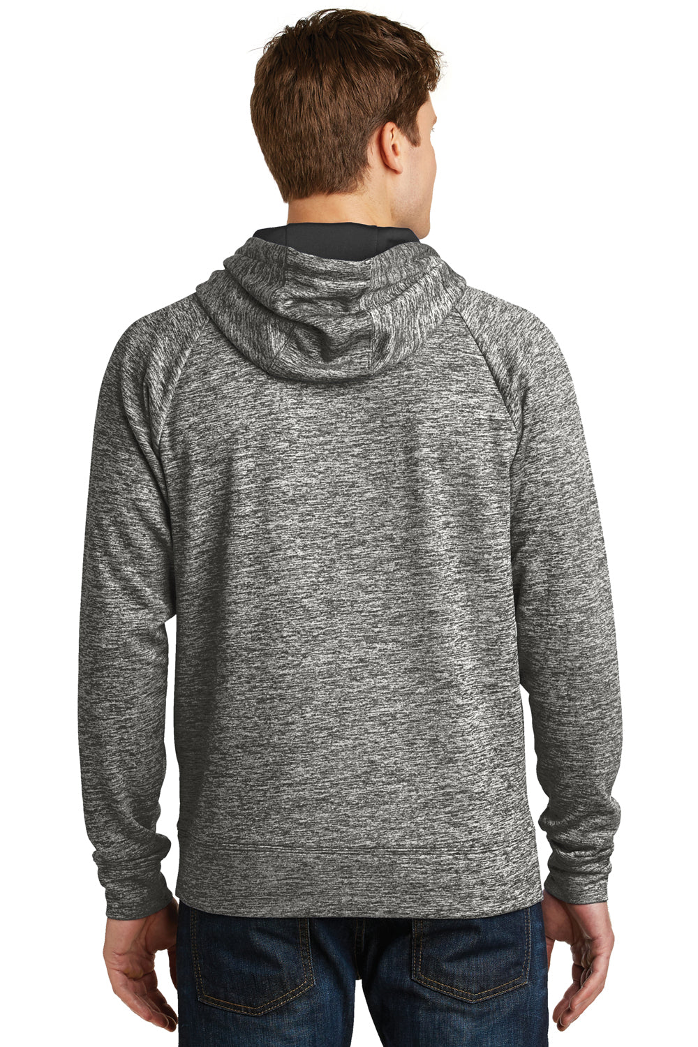 Sport-Tek ST225 Mens Electric Heather Moisture Wicking Fleece Hooded Sweatshirt Hoodie Black Back