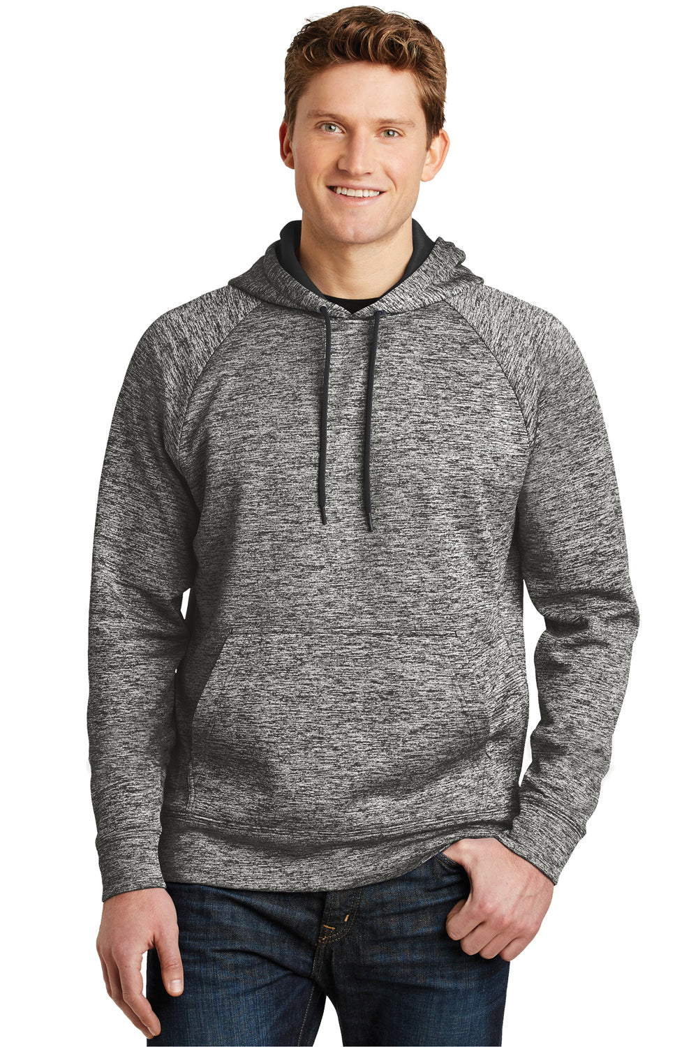 Sport-Tek ST225 Mens Electric Heather Moisture Wicking Fleece Hooded Sweatshirt Hoodie Black Front