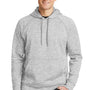 Sport-Tek Mens Electric Heather Moisture Wicking Fleece Hooded Sweatshirt Hoodie - Silver Grey Electric
