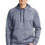 Sport-Tek Mens Electric Heather Moisture Wicking Fleece Hooded Sweatshirt Hoodie - True Navy Blue Electric