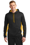Sport-Tek ST235 Mens Sport-Wick Moisture Wicking Fleece Hooded Sweatshirt Hoodie Black/Gold Front