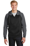Sport-Tek ST236 Mens Sport-Wick Moisture Wicking Fleece Hooded Sweatshirt Hoodie Black/Grey Front