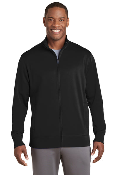 Sport-Tek ST241 Mens Sport-Wick Moisture Wicking Fleece Full Zip Sweatshirt Black Front