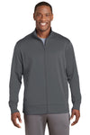 Sport-Tek ST241 Mens Sport-Wick Moisture Wicking Fleece Full Zip Sweatshirt Dark Grey Front