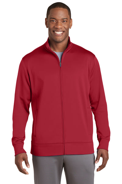 Sport-Tek ST241 Mens Sport-Wick Moisture Wicking Fleece Full Zip Sweatshirt Red Front