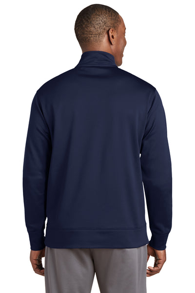Sport-Tek ST241 Mens Sport-Wick Moisture Wicking Fleece Full Zip Sweatshirt Navy Blue Back