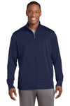 Sport-Tek ST241 Mens Sport-Wick Moisture Wicking Fleece Full Zip Sweatshirt Navy Blue Front
