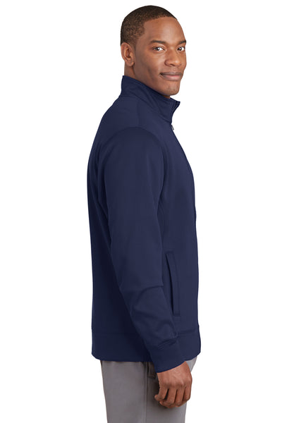 Sport-Tek ST241 Mens Sport-Wick Moisture Wicking Fleece Full Zip Sweatshirt Navy Blue Side