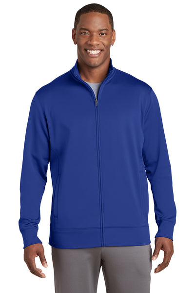 Sport-Tek ST241 Mens Sport-Wick Moisture Wicking Fleece Full Zip Sweatshirt Royal Blue Front