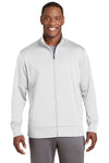 Sport-Tek ST241 Mens Sport-Wick Moisture Wicking Fleece Full Zip Sweatshirt White Front